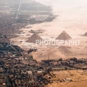 Aerial view of Giza Pyramids, Giza, Egypt. 2009.