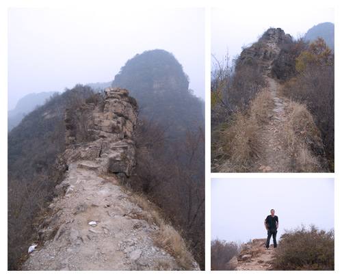 At the top of the Heaven Ladder of Huangya, you can reach a section of the wall that looks more like a passage marked with stones. If you go, be careful with the wind, you don't want to fall to the bottom.
