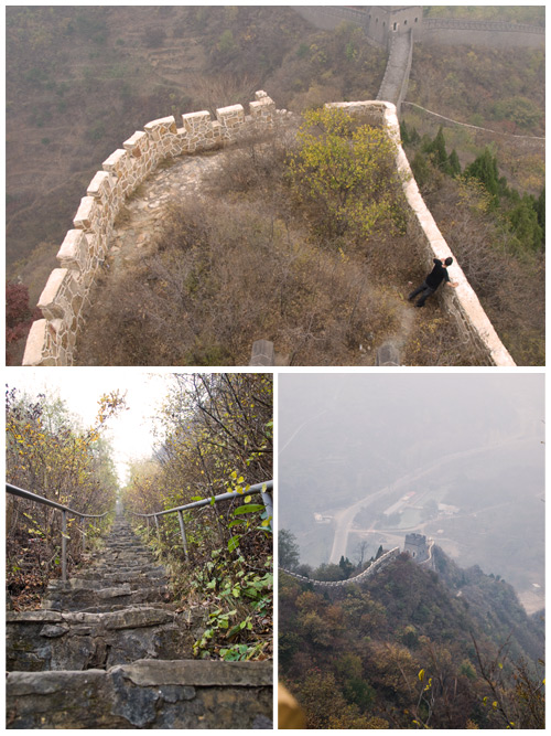 In the top picture I'm looking around. Then the ladder in the picture is called Heaven Ladder of Huangya. It is on the north side. You can't even see where it ends. Then the other picture is another watchtower seen from the top of another section of the Great Wall.