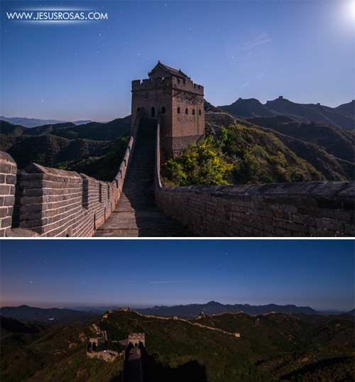 Once the sun was gone, I turned back to the east and realized that there was a bright full moon rising right above the mountains. In second picture, I unexpectedly caught a shooting star, I made a wish and slept having this view; yes, I slept at the Great Wall. Yes, this was the last image before closing my eyes, and yes, there was a shooting star... unforgettable :)