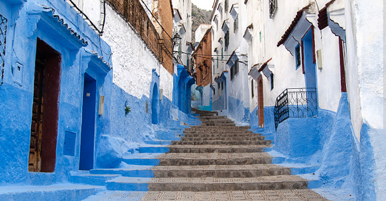 White and blue homes in Chefchaouen, Morocco, Africa.