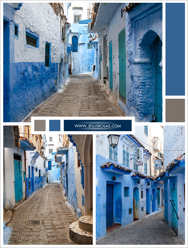 Three pictures of narrow cobblestone alleys and white and blue homes