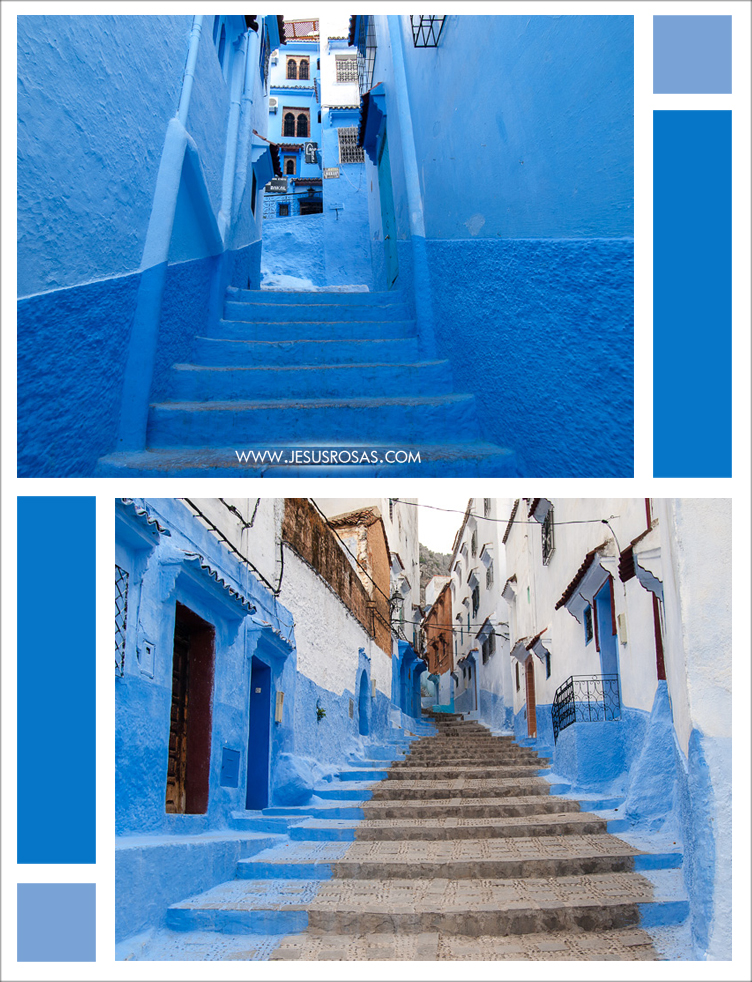 Two pictures of narrow alleys in vivid blue. Chefchaouen, Morocco.