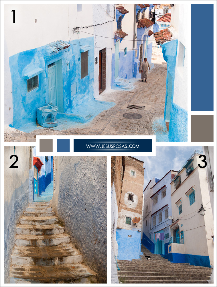 "Picture 1: The home on the left caught my attention. It looks like a blue squared was painted on the white wall and then it partially ""sled"" down and now the bottom got on the sidewalk. Picture 2: There were several cool narrow stairs too. Picture 3: Many homes in Chefchaouen are built in three-story structures."