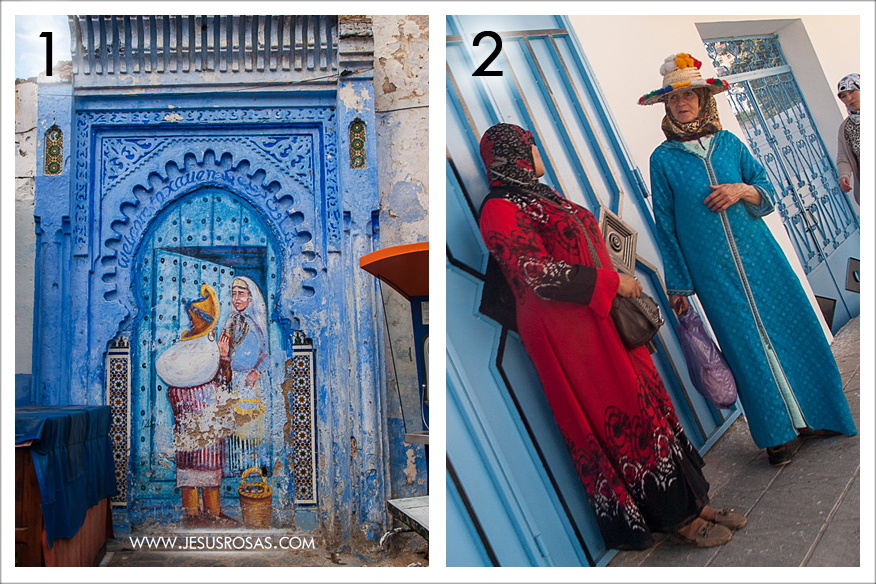 Picture 1: A nice painting on a wall portraying a door. The words in English and Arabic  around the arch say Welcome to Xauen (a short nickname for Chefchouen). Picture 2: Beautiful outfits. Somehow I linked the woman in blue to the painting in picture 1.