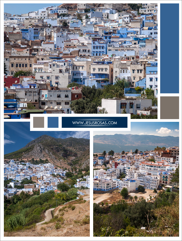 Chefchaouen was originally located on the side of a mountain, and now it has expanded to contiguous hills. Here are three views of Chefchaouen.