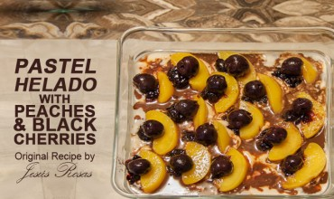 Pastel helado with peaches and black cherries Jesús Rosas' style.