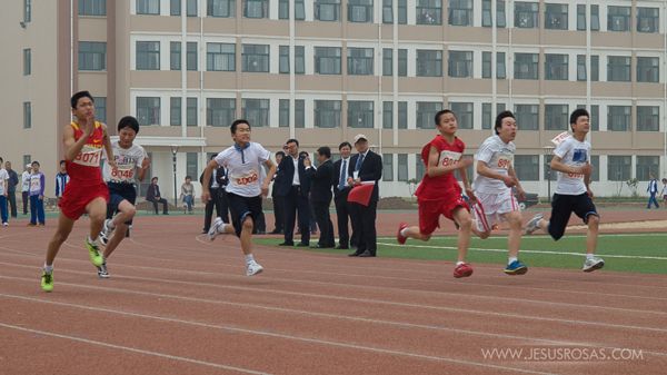 Students running in a race