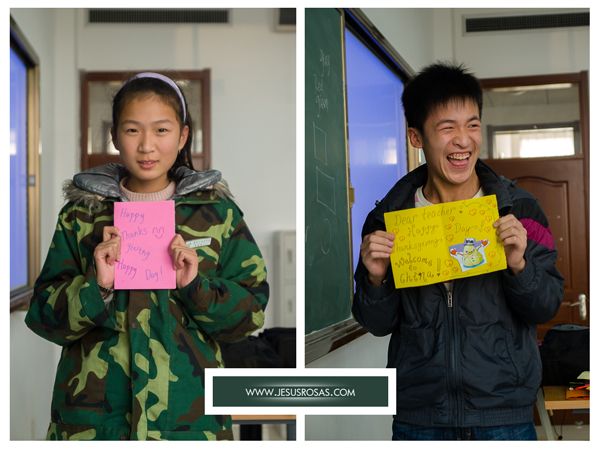 Two pictures each with a student holding a handmade Thanksgiving card