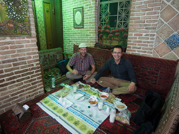 Eating lamb broth with ground meat at a restaurant in Iran.