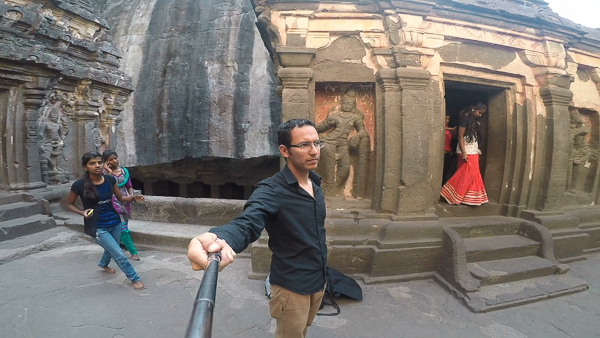 At Ellora Caves in India
