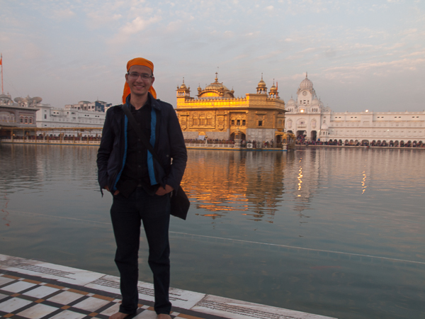 At the Golden Temple comlex in Amritsar. It is required that everyone is barefoot and cover his or her head.