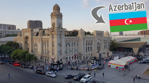 Metro station and adjacent building from 28 Shopping Mall in Baku, Azerbaijan.