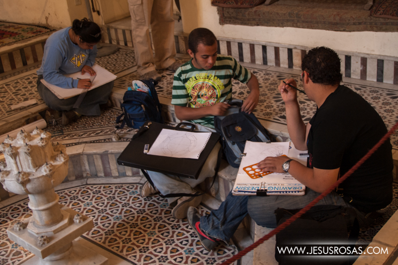 University students at the Gayer-Anderson Museum (a well preserved home from the 17th century). Western clothes are common among the younger and middle class. Cairo, Egypt. 2009.