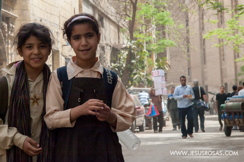 Young girls leaving school. Cairo, Egypt. 2009.