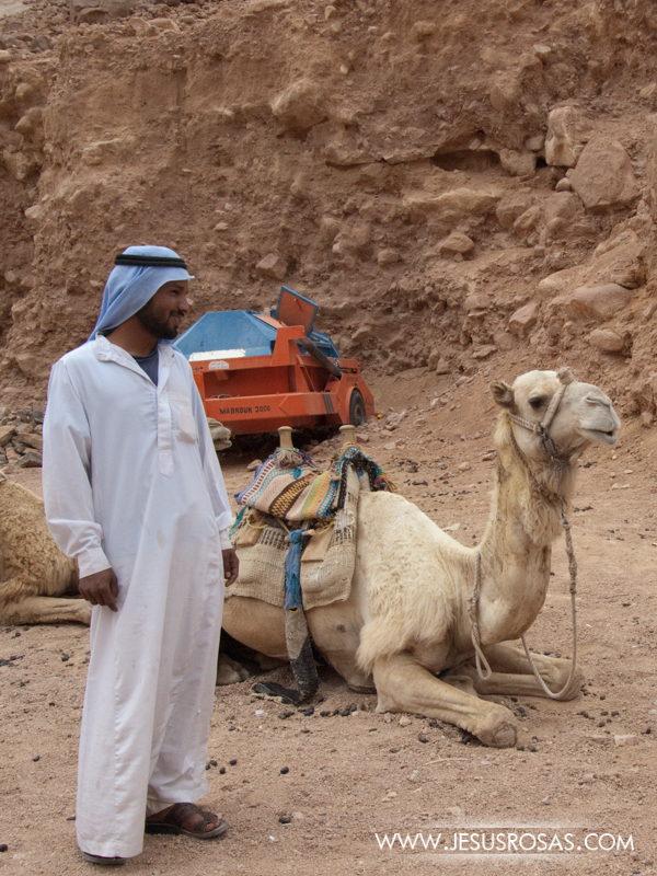 A Bedouin near the Saint Catherine Monastery at Mount Sinai. The Bedouins are Arabs traditionally nomadic. This Bedouin offers camel rides to tourists. Sinai Peninsula, Egypt. 2009.