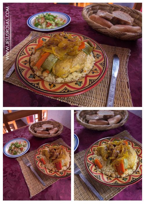 Y para terminar les presento el cuscús marroquí. Un platillo altamente tradicional en la cocina de Marruecos. Está hecho a base de sémola de trigo. Se acompaña con otro ingrediente fuerte como pollo, verduras, cordero, etc. En esta foto yo lo pedí con pollo. Se parece al tajín, pero no lo  es, es el mismo restaurante y la misma ensalada, pero no el mismo platillo.