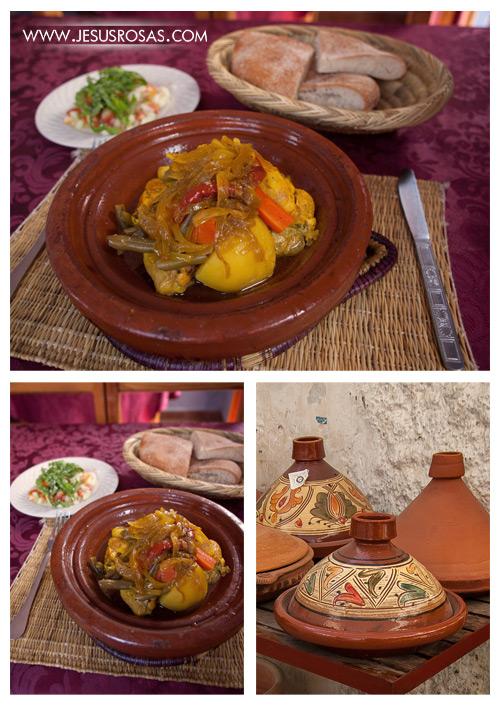 El primer platillo que les presento es el pollo al tajín. Tal vez el platillo que más me gustó en Marruecos. El tajín es el contenedor de barro (ver la foto en el lado derecho) que sirve para cocer a fuego lento. Hay varias recetas y con diferentes ingredientes principales (ternera, atún, verduras, etc,), pero lo que a mí me atrajo de este platillo fue el sabor dulce que le acompaña. La versión para endulzar el platillo varía, pueden ser ciruelas pasas, membrillo caramelizado, limones en conserva, chabacano (albaricoque), etc., pero al final dulce y por el cocido lento en este recipiente, la carne queda muy suave. El tajín es muy popular en Marruecos y se venden por todas partes.