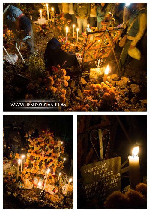 Las tumbas estaban adornadas con velas y abundantes flores de cempasúchil naranja y amarillo.