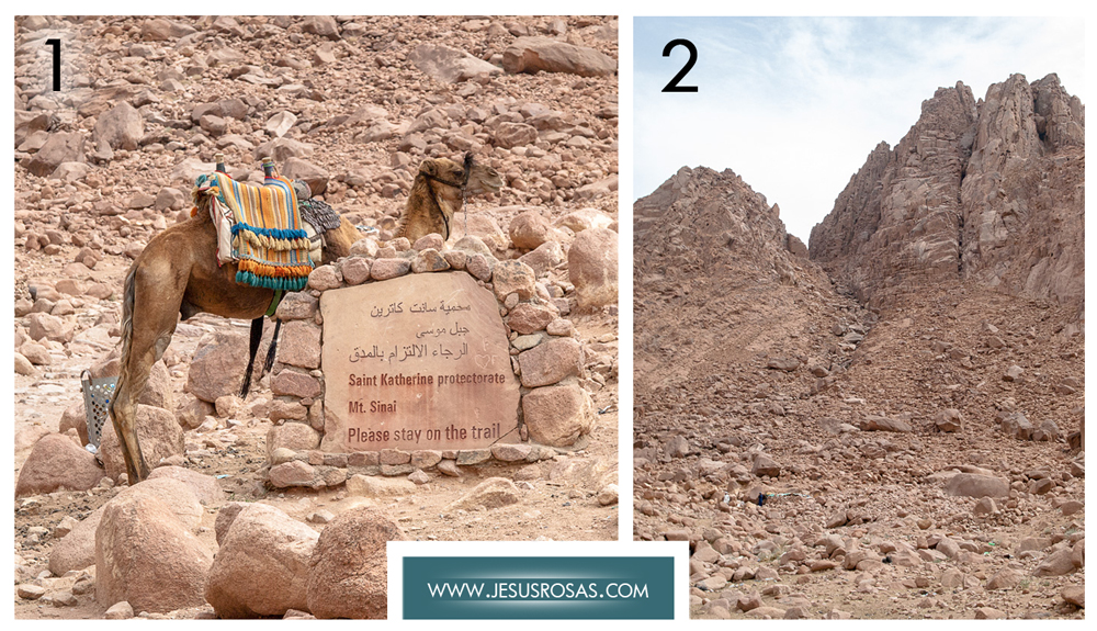 Picture 1. Camel standing next to a stone sign. Picture 2. Peaks, big rocks, small stones and dirt.