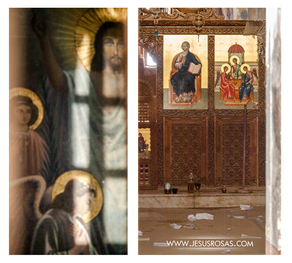 Paintings of Christ and other religious icons inside Chapel The Holy Trinity.