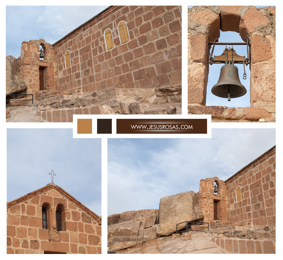 Four pictures of Holy Trinity chapel from different angles. Zooming on bell, windows and cross. The chapel is made out of stone bricks.