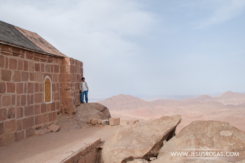 Jesús Rosas next to chapel The Holy Trinity on Mount Sinai.
