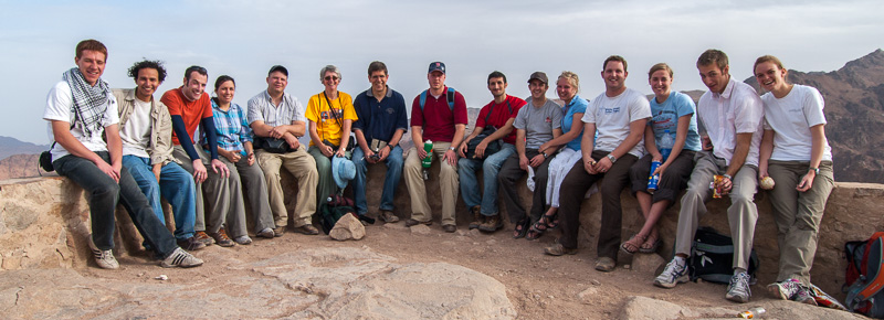 Jesús Rosas and Brigham Young University students and professor Dilworth Parkinson on top of Mount Sinai.