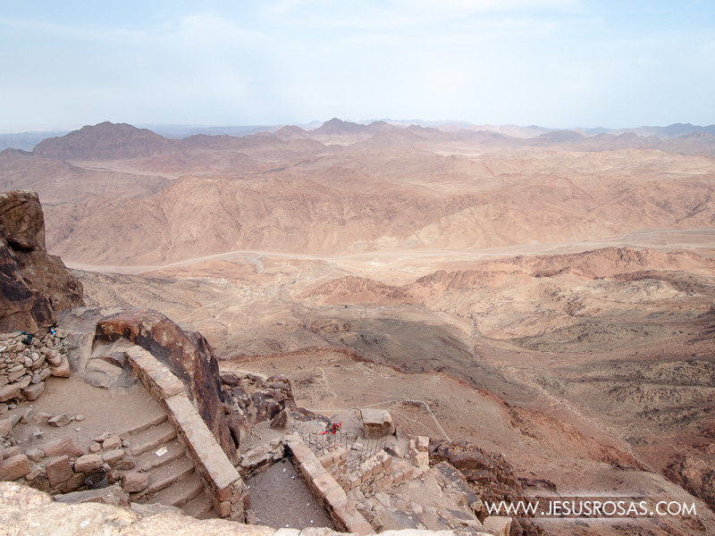 Stairs on the foreground and mountains on the background from Mount Sinai, Egypt.