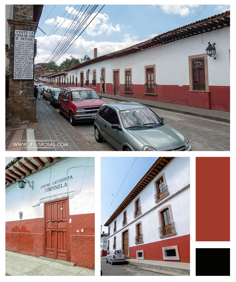 Three pictures showing some streets in Pátzcuaro. One of the pictures shows a facade with a sign saying: Centro Naturista Pimpinela (Pimpinela's Naturist Center)
