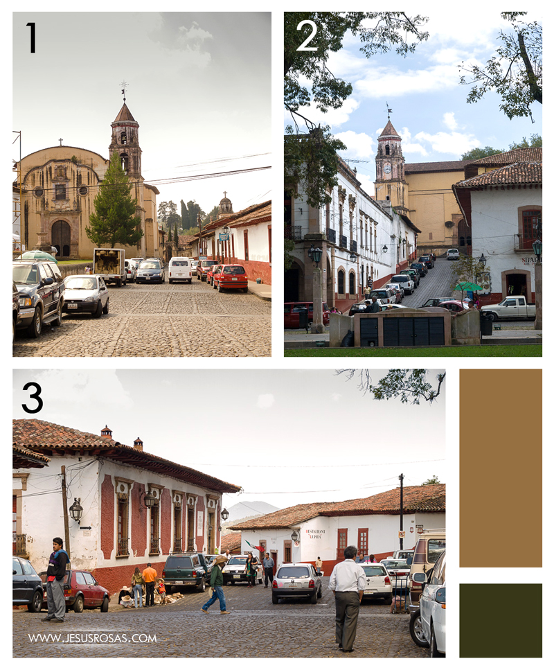 Three pictures. Two of the Templo de la Compañía de Jesús and one of a street near downtown.