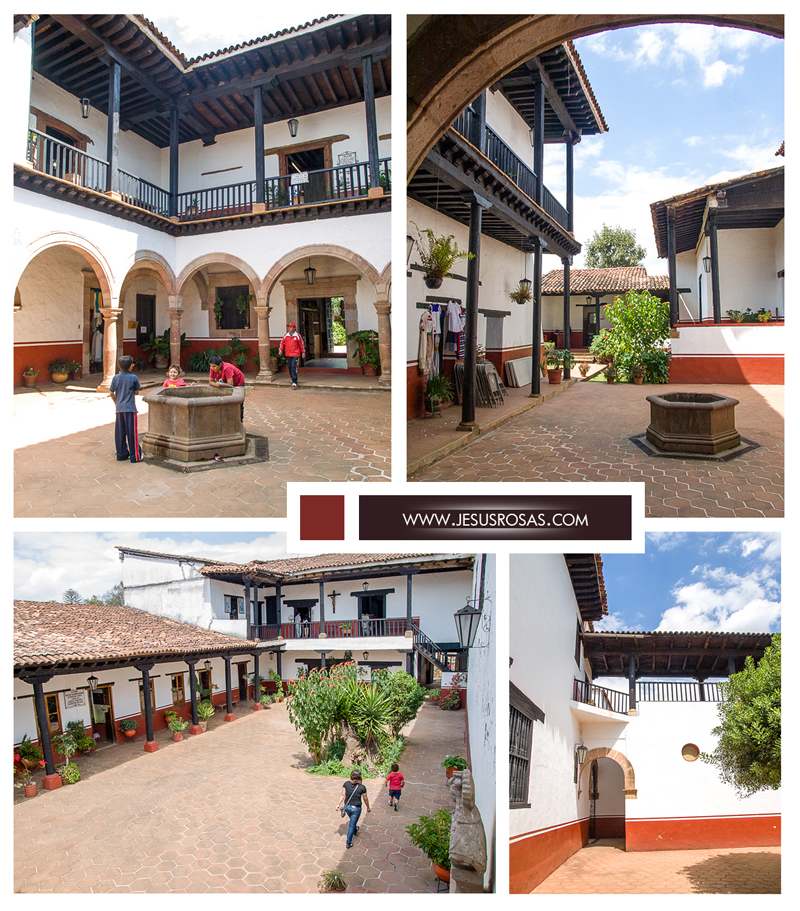 Four pictures inside the Casa de los Once Patios