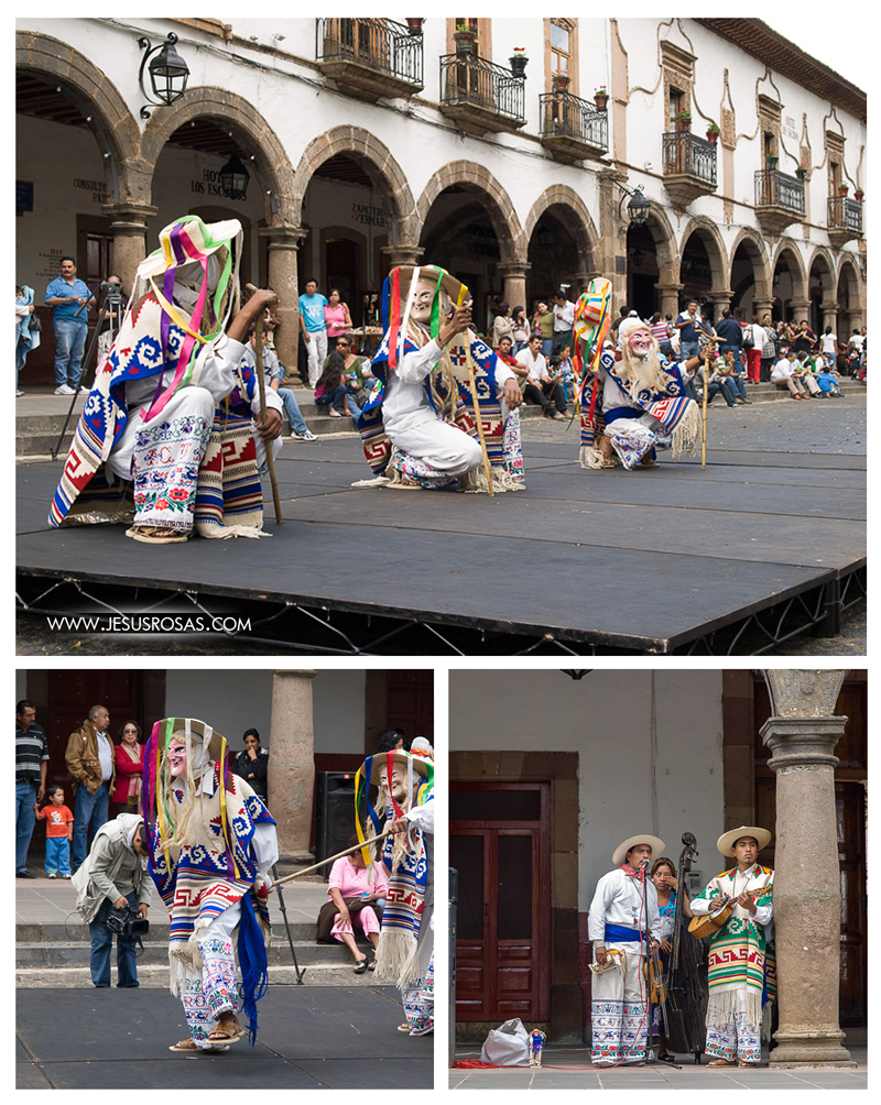 Images of folk dancers on a downtown street in Pátzcuaro.