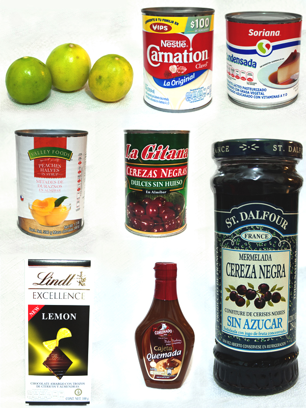 Ingredientes para el pastel helado de duraznos y cereza negra