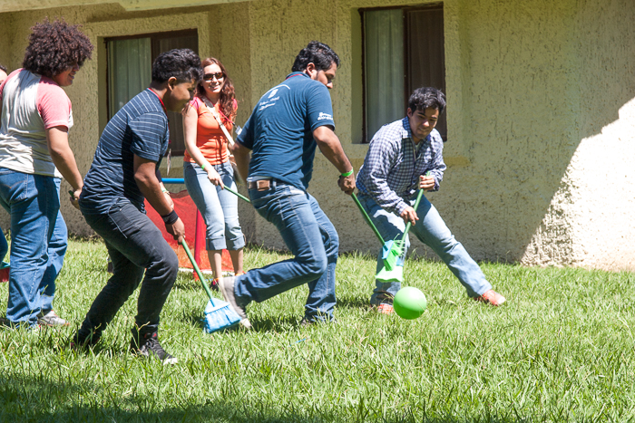 People playing with a ball and brooms