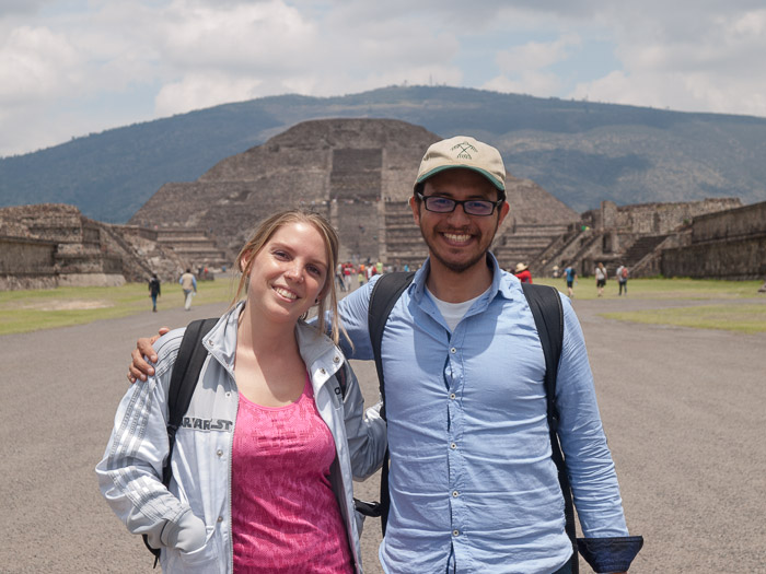 Pictures of the pyramids, Jesús Rosas and Monse.