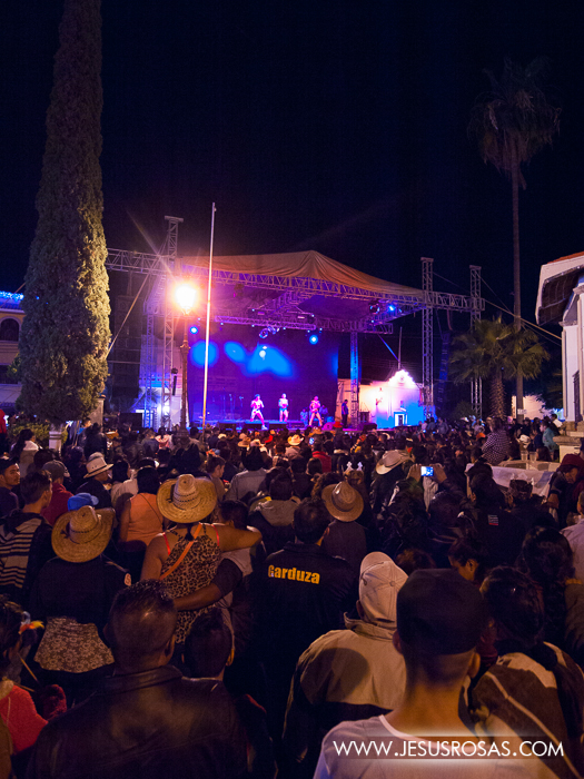 People gathered at the plaza for a music band in Cajititlan, Tlajomulco, Jalisco, Mexico.