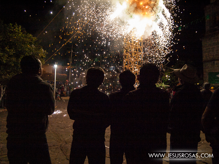 Silhouettes of people looking at some fireworks in Cajititlan, Tlajomulco, Jalisco, Mexico.