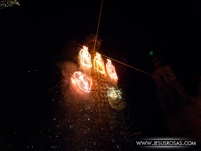 Figures of the three kings made with fireworks in Cajititlan, Tlajomulco, Jalisco, Mexico.
