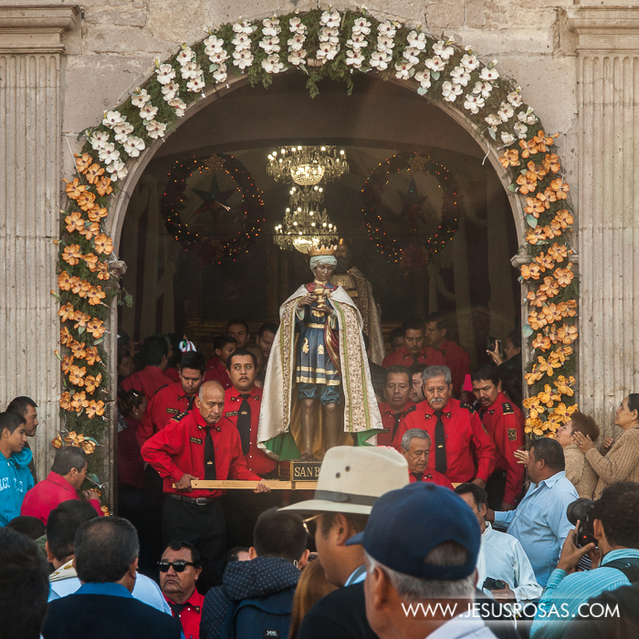 The statue of the Magi being carried outside the church in Cajititlan, Tlajomulco, Jalisco, Mexico.