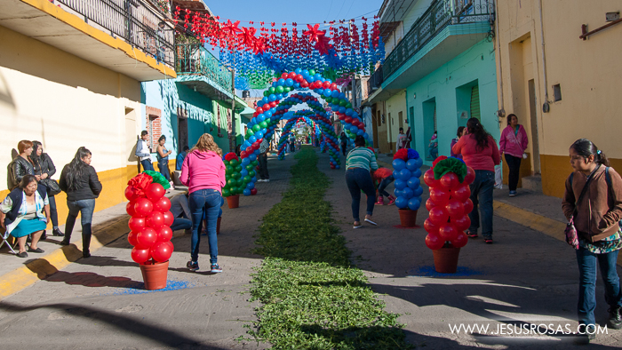 Streets with balloons, leafs, and other decorations in Cajititlan, Tlajomulco, Jalisco, Mexico.