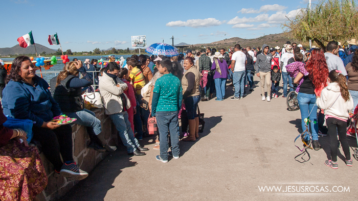 People gathering next to Lake Cajititlan in Cajititlan, Tlajomulco, Jalisco, Mexico.