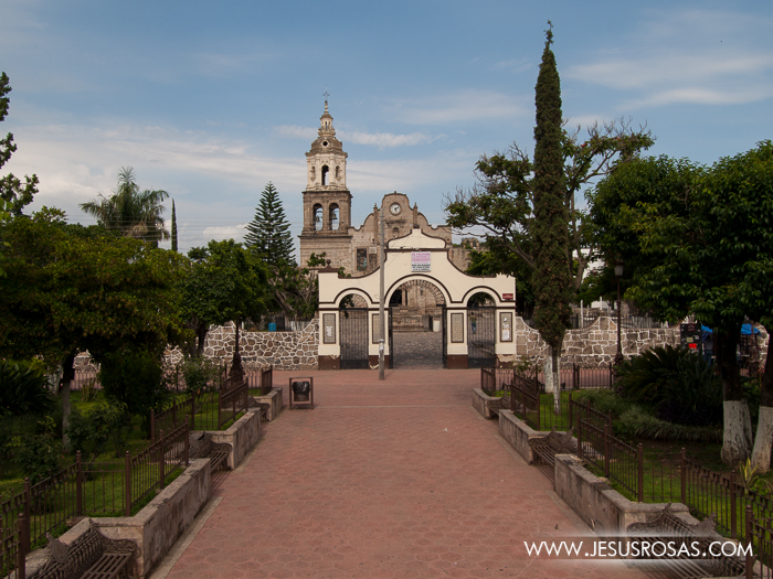 A view of the church from the plaza outside the atrium in Cajititlan, Tlajomulco, Jalisco, Mexico.