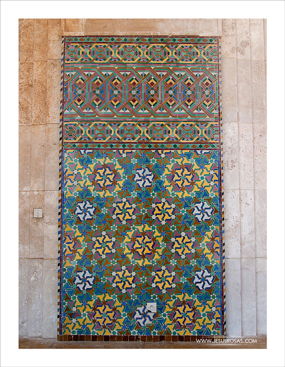 One of the most interesting features in Moroccan architecture is an Islamic type of art known as zellige or zellij. Zellige are pieces of colorful terracotta tilework used in mosaics and you can find it in many places in the Hassan II Mosque as it is shown on this exterior wall on the image above. Apparently the craftsmen of the Moroccan kingdom ended up covering more than one hectare (10,000 m2) with zellige forming 80 original design patterns. This is more than covering an entire FIFA football (soccer) field (7,140 m2) with tilework pieces of different shapes. Yes, it is like solving a giant jigsaw puzzle!