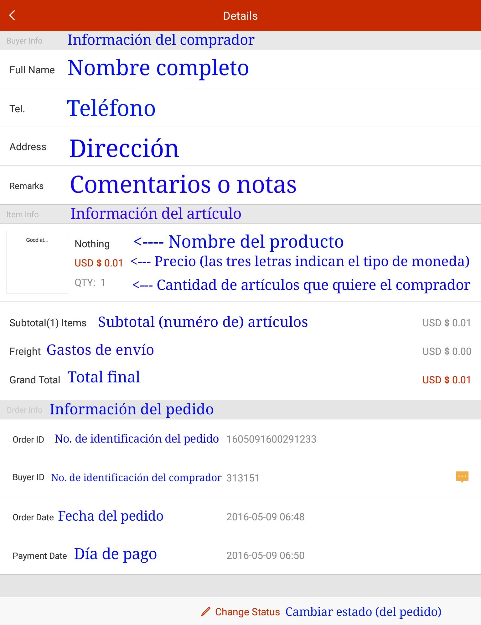 Una traducción de cómo se ve la pantalla de la orden de un pedido