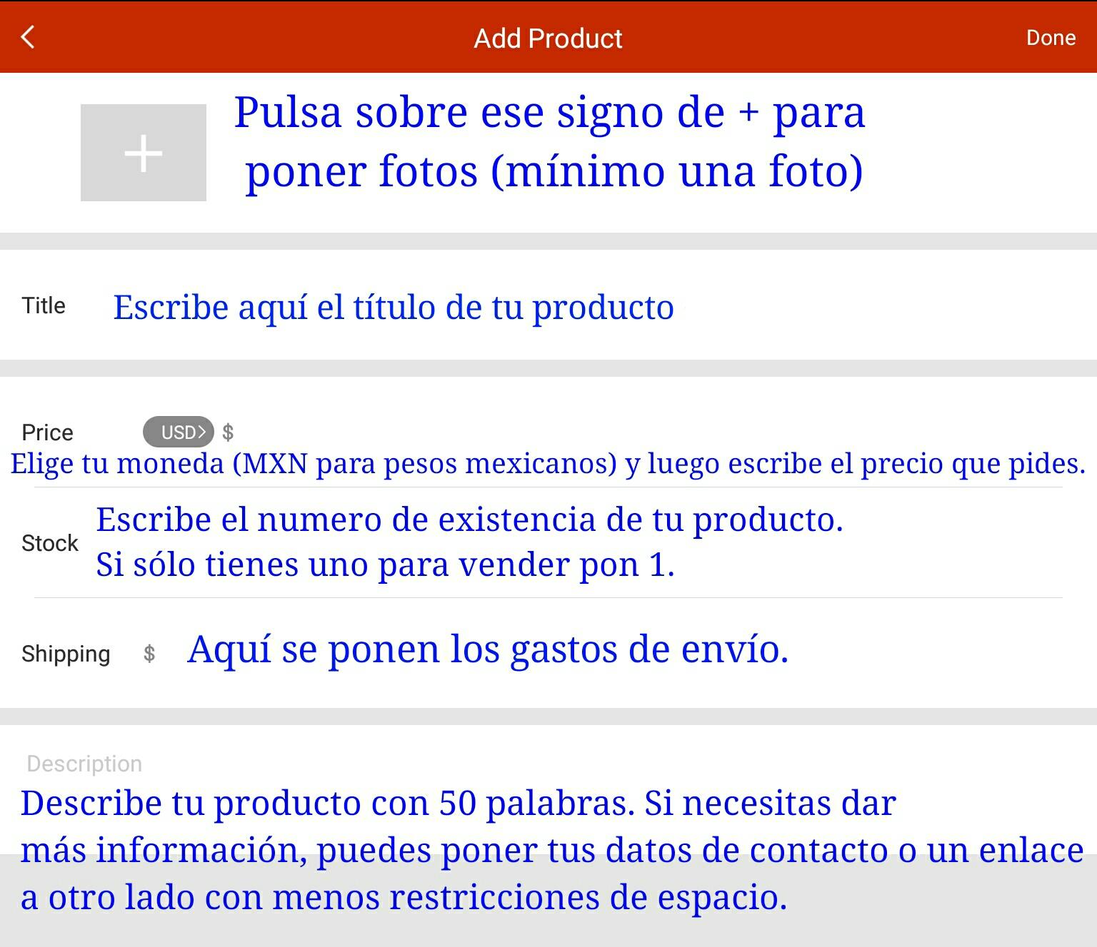 Explicación de cómo agregar producto. Ver glosario para ver lo que significa cada palabra en inglés.