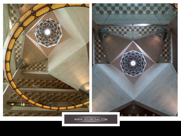Different angles of the ceiling, pillar and patterns at the Museum of Islamic Art in Doha, Qatar
