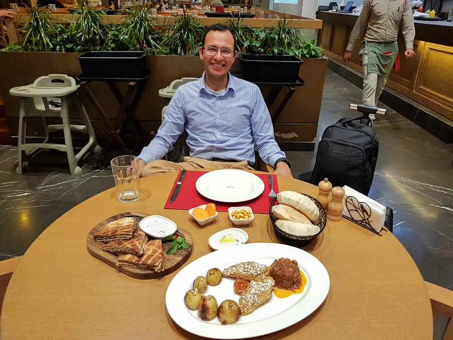 Enjoying good food before leaving Muscat, Oman.