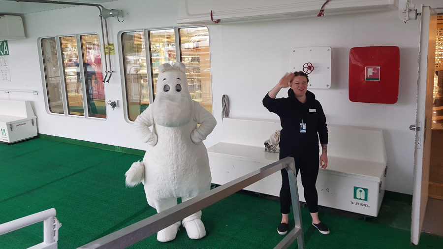 On my way to Sweden, I took the ferry in Turku, Finland and all passengers were greeted by a woman and a strage creature that I still don't know what it's supposed to be.