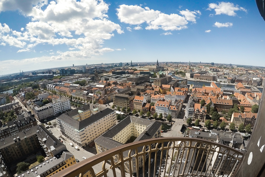 This is one of the views from the Church of Our Savior in Copenhagen. It is a tower of about 90 meters (295 ft) with an external winding staircase. Winds on top may make you feel some thrills as I experienced. Not apt for those who are afraid of heights.
